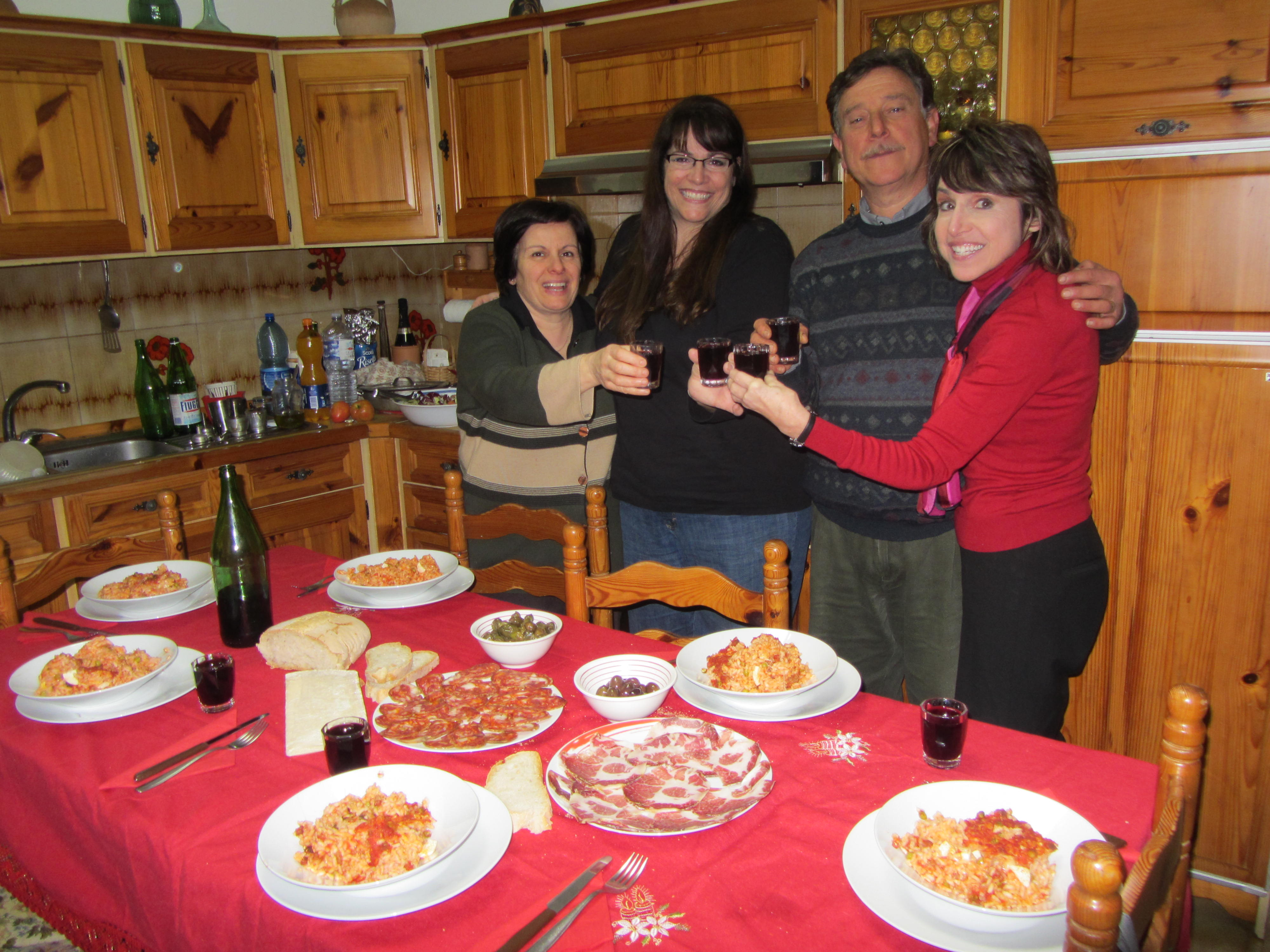 Salute from Enzo's table, Motta Sata Lucia, Italy